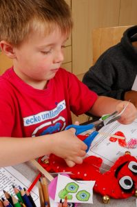 Image of boy with Numberjacks toys